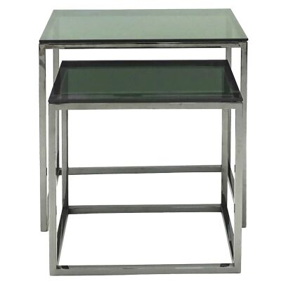 Tino 2 Piece Glass Top Stainless Steel Side Table Set