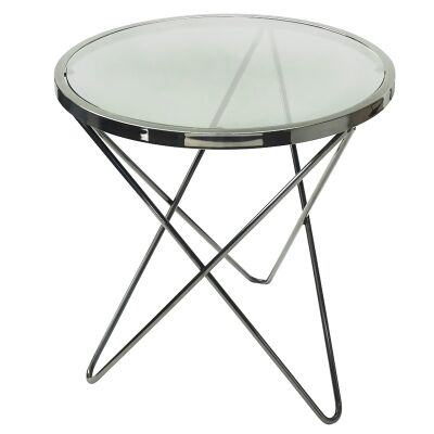 Venus Stainless Steel Round Side Table with Glass Top