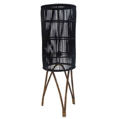 Avita Rattan Cyclinder Floor Lamp, Black