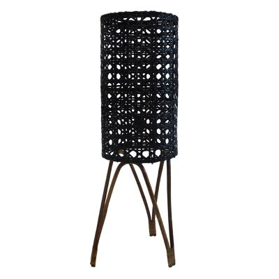 Granz Rattan Cyclinder Floor Lamp, Black