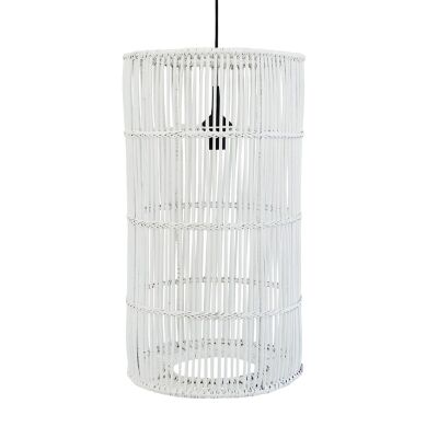 Avita Rattan Cyclinder Pendant Light, White