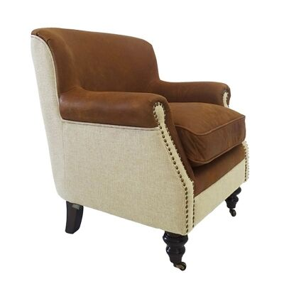 Mils Italian Leather & Linen Upholstered Oak Timber Club Chair - Cigar