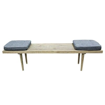 Jensen Solid Oak Timber Bench Seat with Cushions