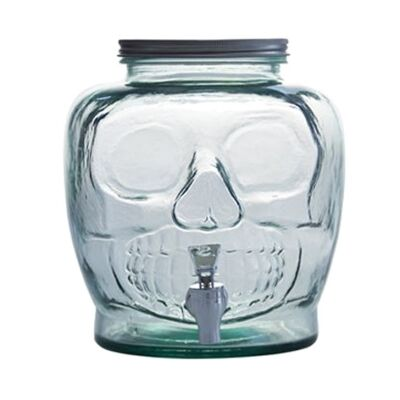Skull Glass Beverage Dispenser with Spout
