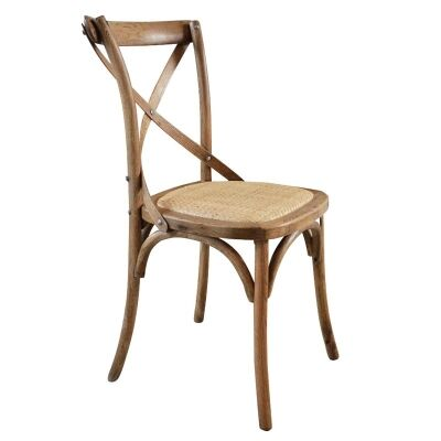 Kasan Solid Oak Timber Cross Back Dining Chair - Natural