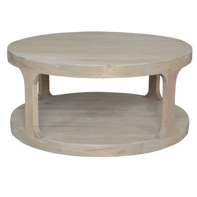 Frans Oak Timber Round Coffee Table, 92cm, Weathered Oak