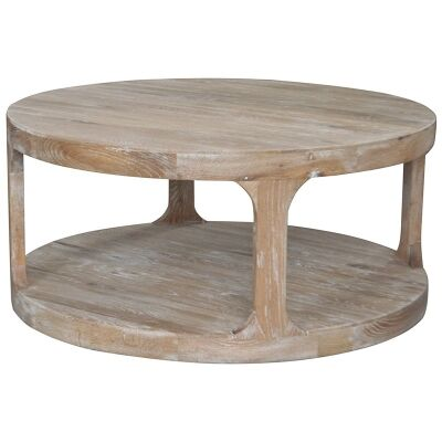 Frans Oak Timber Round Coffee Table, 92cm, Lime Washed Oak