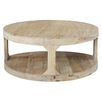 Frans Recycled Pine Timber Round Coffee Table, 90cm