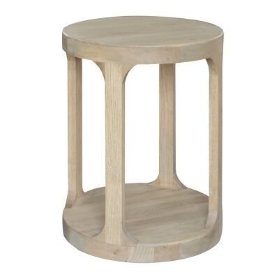 Frans Oak Timber Round Side Table, Weathered Oak