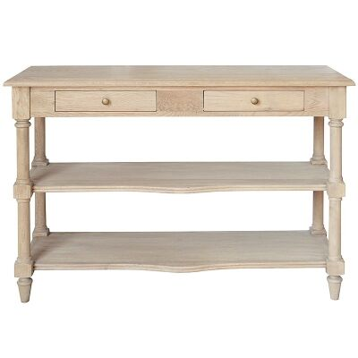 Bellina Oak Timber Console Table, 120cm, Weathered Oak