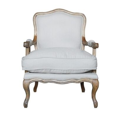 Ethan Linen & Oak Timber Armchair, Weathered Oak / Oatmeal