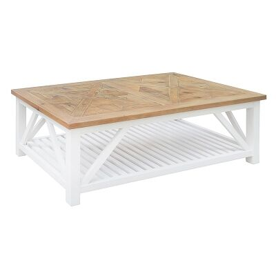 Avista Solid Timber Parquetry Top 140cm Coffee Table
