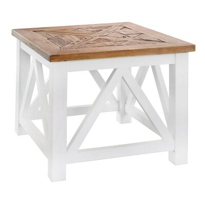 Elliot Solid Timber Parquetry Top Side Table