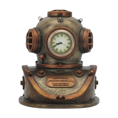 Cast Bronze Steampunk Statue with Clock, Diving Helmet