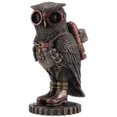 Cast Bronze Steampunk Statue, Owl with Jetpack