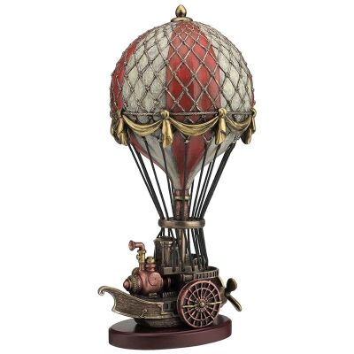 Cast Bronze Steampunk Statue, Hot Air Balloon