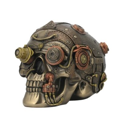 Cast Bronze Steampunk Statue Trinket Box, Skull