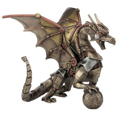 Cast Bronze Steampunk Statue, Dragon Holding Sphere