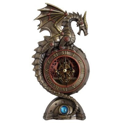 Veronese Cold Cast Bronze Coated Steampunk Statue Table Clock, Dragon