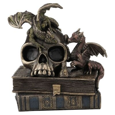 Veronese Cold Cast Bronze Coated Dragonlings on Skull & Books Sculpture