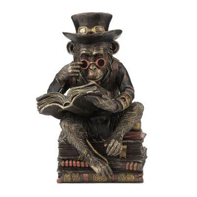 Veronese Cold Cast Bronze Coated Chimpanzee Scholar Figurine