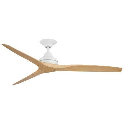 "Threesixty Spitfire Ceiling Fan, Polymer Blades, 152cm/60"", Matt White / Natural"