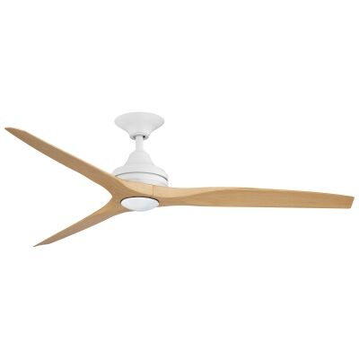 """Threesixty Spitfire Ceiling Fan with LED Light, Polymer Blades, 152cm/60"""", Matt White / Natural"""