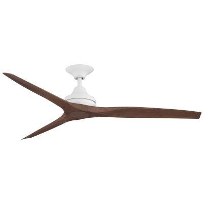 "Threesixty Spitfire Ceiling Fan, Polymer Blades, 152cm/60"", Matt White / Walnut"