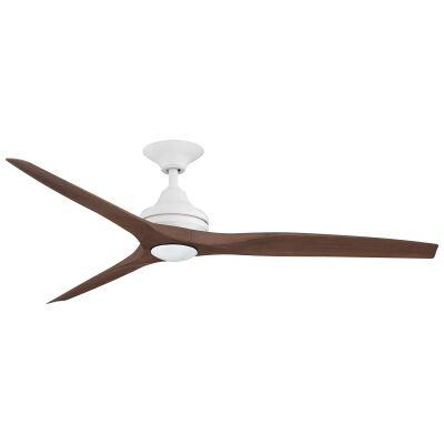 "Threesixty Spitfire Ceiling Fan with LED Light, Polymer Blades, 152cm/60"", Matt White / Walnut"