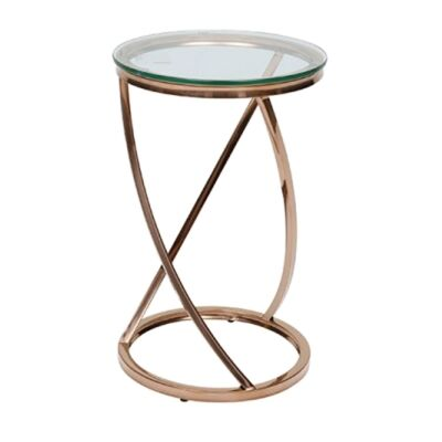 Spin Glass & Metal Side Table, Rose Gold