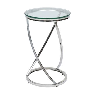 Spin Glass & Metal Side Table, Silver