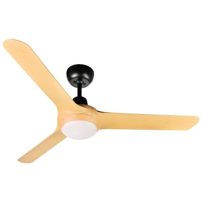 """Ventair Spyda Commercial Grade Indoor / Outdoor 3 Blade Ceiling Fan with CCT LED Light, 125cm/50"""", Bamboo"""