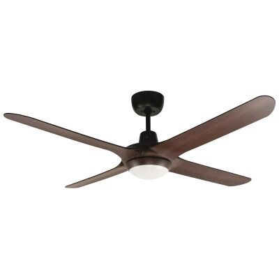 """Ventair Spyda Commercial Grade Indoor / Outdoor 4 Blade Ceiling Fan with CCT LED Light, 140cm/56"""", Walnut"""