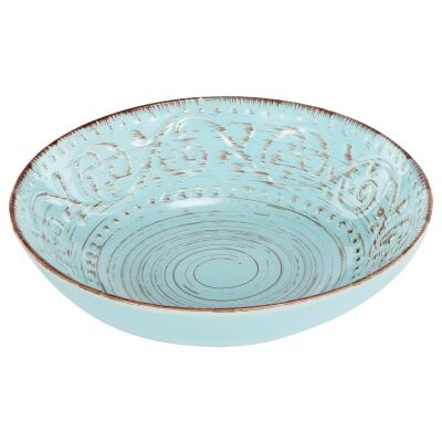 Dane Hill Stoneware Salad Bowl, Aqua