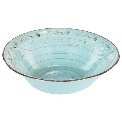 Dane Hill Stoneware Serving Bowl, Aqua