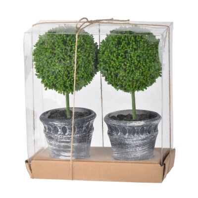 Hoxton 2 Piece Mini Potted Artificial Single Ball Topiary Set, Charcoal Pot