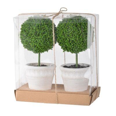 Hoxton 2 Piece Mini Potted Artificial Single Ball Topiary Set, White Pot