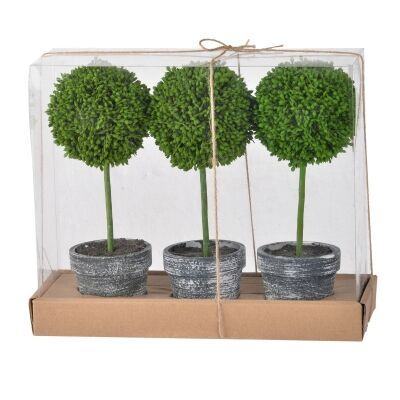 Hoxton 3 Piece Mini Potted Artificial Single Ball Topiary Set