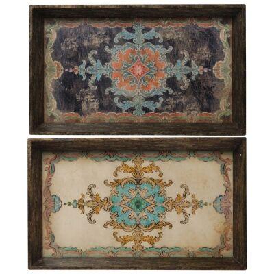 Eadse 2 Piece Vintage Rectangular Tray Set