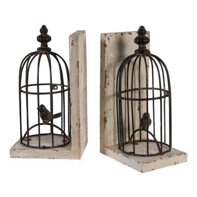 Wren 2 Piece Metal Birdcage Bookend Set
