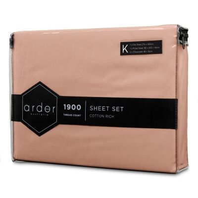 Ardor 1900TC Cotton Rich Bed Sheet Set, King, Dusk