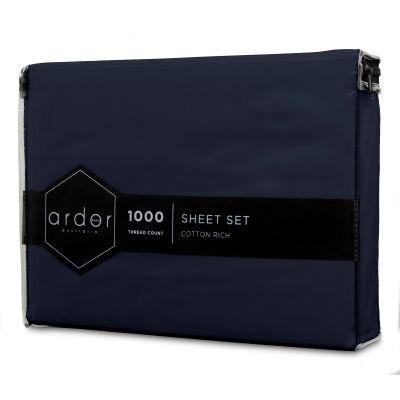 Ardor 1000TC Cotton Rich Bed Sheet Set, Queen, Navy