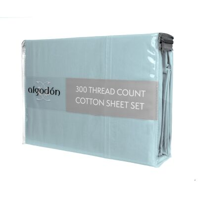 Algodon 300TC Cotton Bed Sheet Set, King, Denim