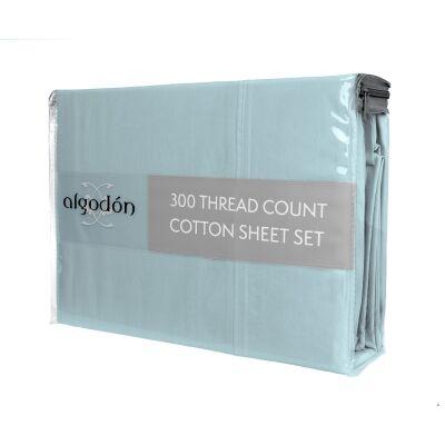 Algodon 300TC Cotton Bed Sheet Set, Queen, Denim
