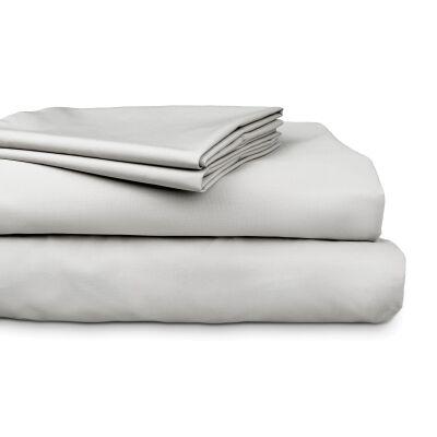 Ajee 3 Piece 300TC Cotton Sheet Set, Single, Silver