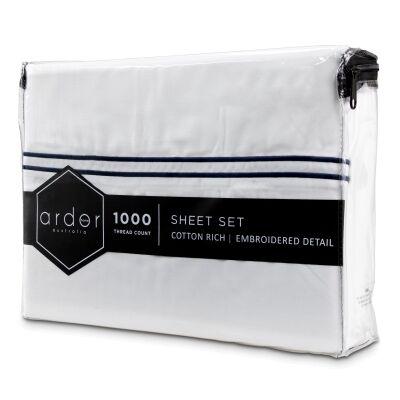 Ardor Hotel 1000TC Cotton Rich Bed Sheet Set, Queen, White / Navy