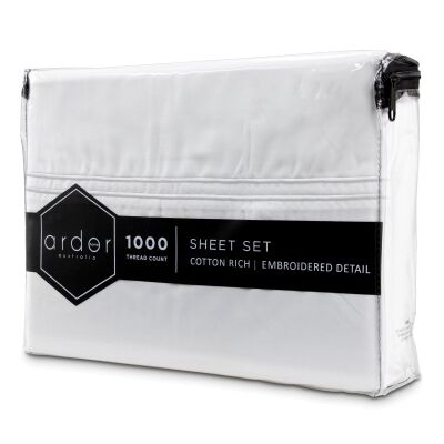 Ardor Hotel 1000TC Cotton Rich Bed Sheet Set, King, White