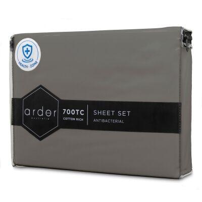 Ardor 700TC Anti Bacterial Cotton Rich Bed Sheet Set, King, Charcoal