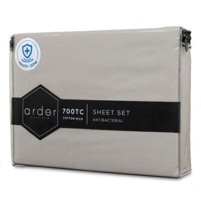 Ardor 700TC Anti Bacterial Cotton Rich Bed Sheet Set, Queen, Silver