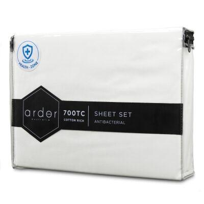 Ardor 700TC Anti Bacterial Cotton Rich Bed Sheet Set, King, White